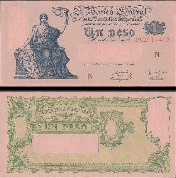 1 Peso Argentína 1947 (1948-51), Pick 257