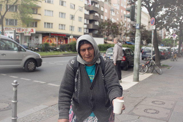 Begging on Kotbusser Damm. Neukölln, April 2015.