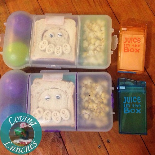 Loving yours & mine @nudefoodmovers for the girls tomorrow… each has their favourite spread in a @cutezcute octopus sand which, popcorn, octo-dogs, mandarin 'tentacles' and yoghurt in a @sinchies pouch (under the sandwich). Honey has milk while Miss M ask