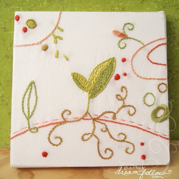 """Sprout"" original hand embroidered canvas art from my first Doodle Stitching book, newly listed in my #etsy shop! #embroidery #littledear"