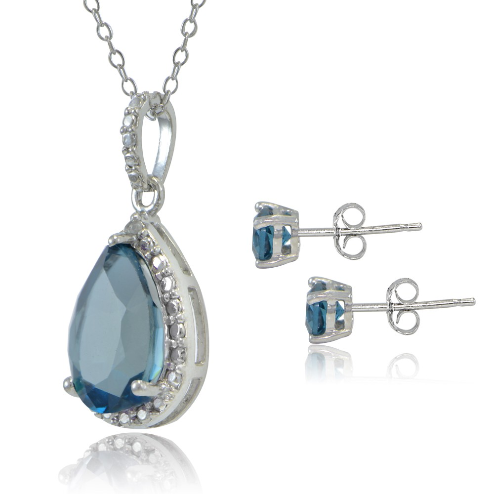 Blue Topaz Necklace And Earring Set