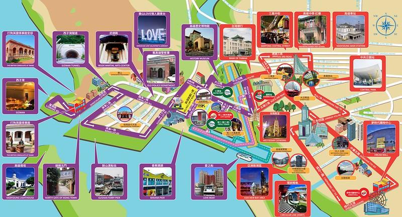 觀光巴士路線圖與景點照
