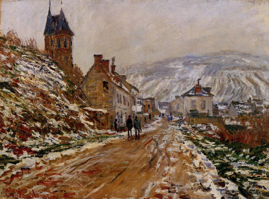 The Road in Vetheuil in Winter by Claude Oscar Monet - 1879