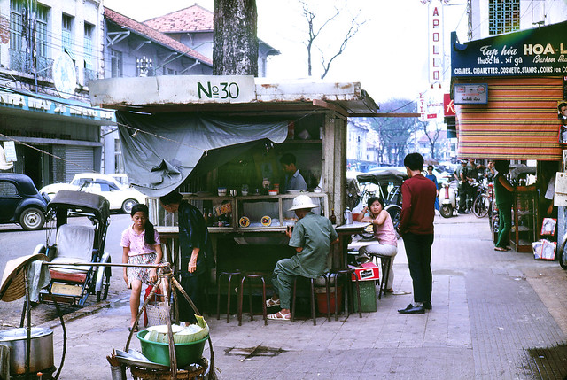 Outdoor restaurant downtown Saigon, Vietnam 1969 - Photo by Mike Gilmore