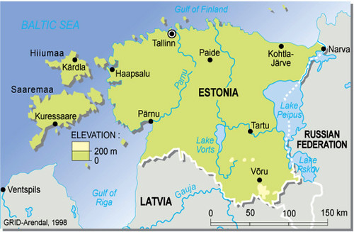 Estonia, topographic map | GRID-Arendal