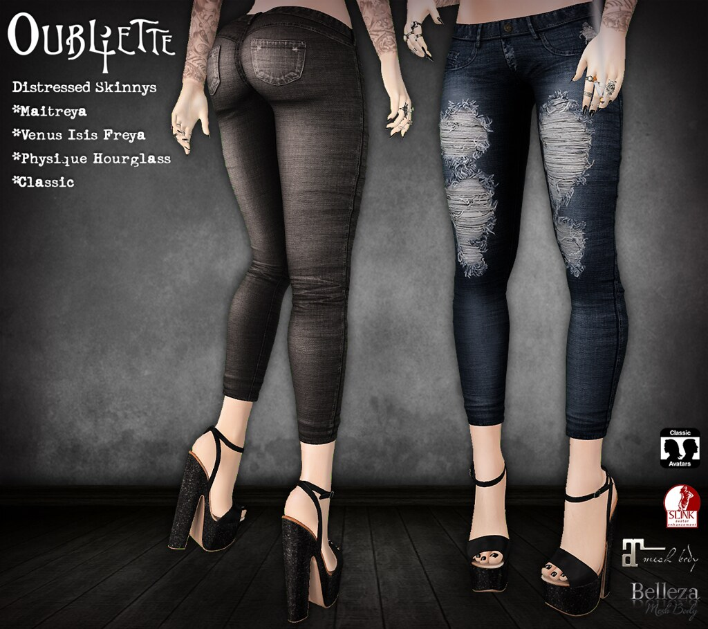 Oubliette- Distressed Skinnies - SecondLifeHub.com