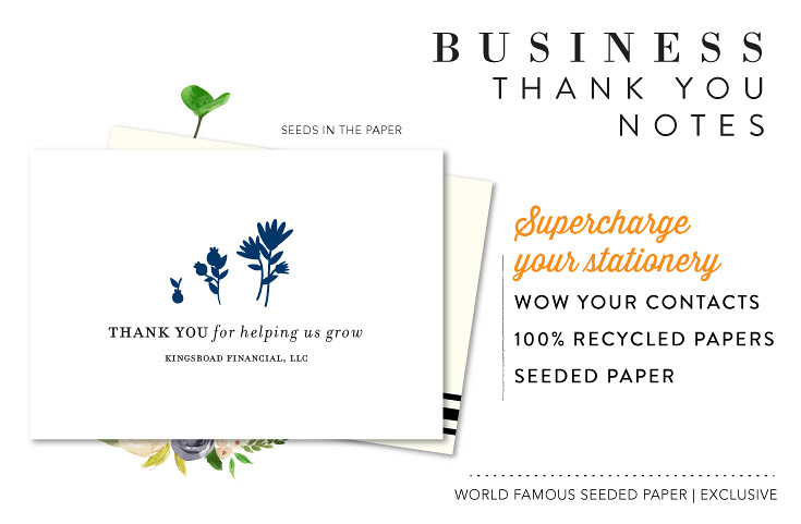 Unique business thank you cards seeded paper notes by green categoryallinoneinvitationstree reheart Choice Image