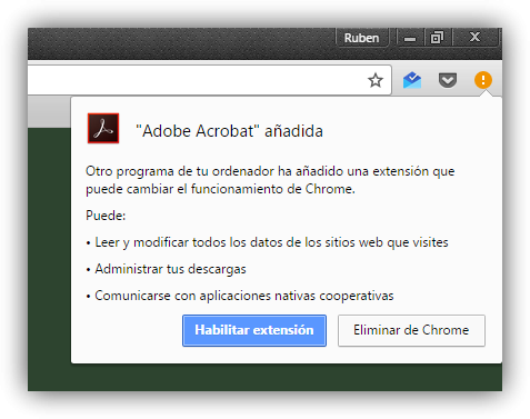 Nueva extension espia Adobe en Google Chrome