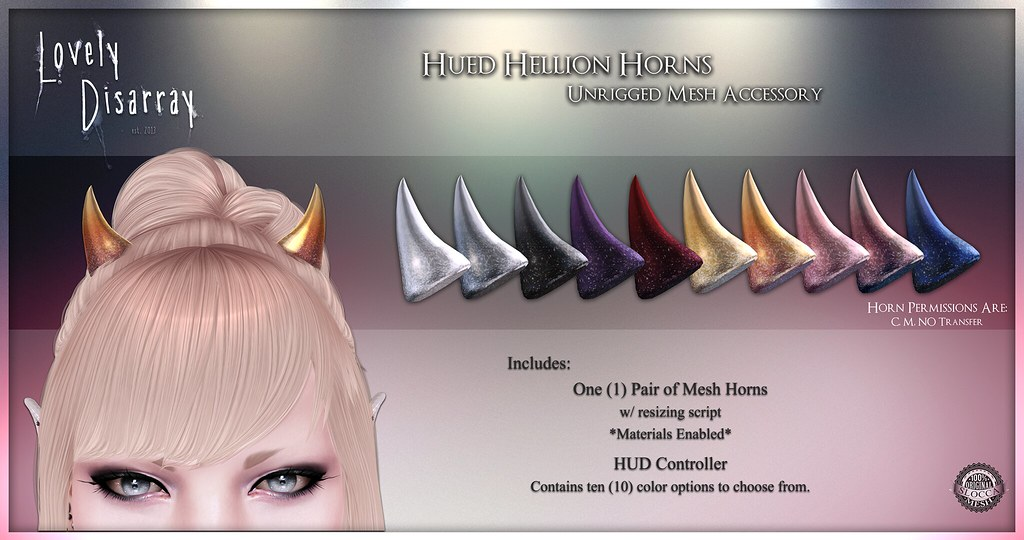 Lovely Disarray - Hued Hellion Horns @ The Kawaii Project - SecondLifeHub.com