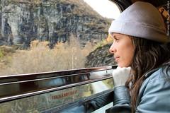 Simone. Train Myrdal-Flam, Norway.