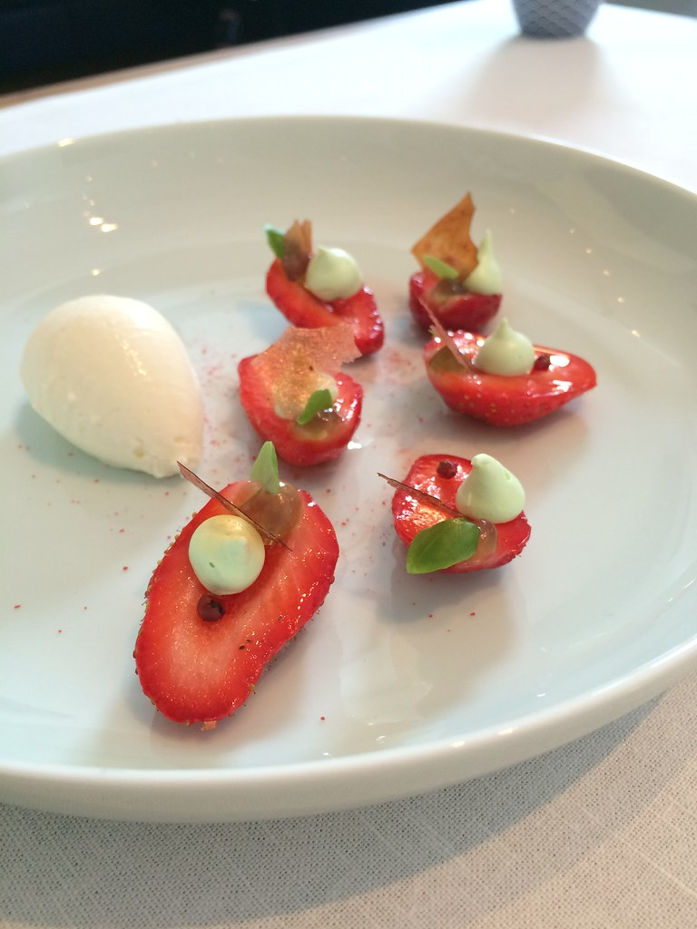 Tim Raue dessert strawberries with basil and ice cream