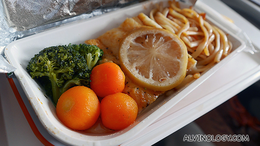 The lemon fish and spaghetti meal for Asher