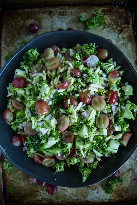 Broccoli, Grape and ALmond Salad