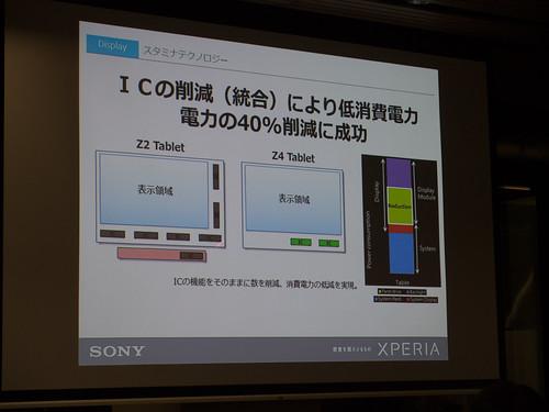 Xperia アンバサダー ミーティング スライド : Xperia Z4 Tablet は ディスプレイの駆動 IC を 7個 (Z2 Tablet) から 2個にまで減らすことで、40% の省電力化を実現!