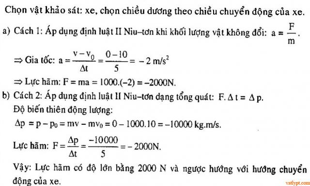 Bài tập động lượng, bảo toàn động lượng, vật lý phổ thông