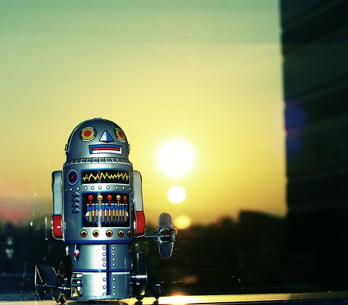 my robot and sunset view from cube window