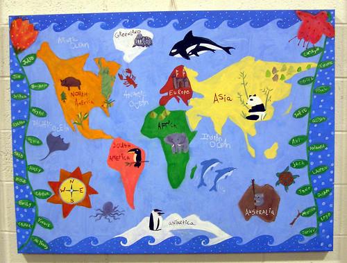 Preschool World Map.Montessori Preschool World Made By Preschoolers For School Flickr