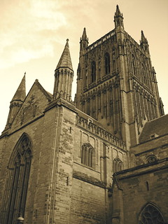 Worcester Cathedral tower in sepia
