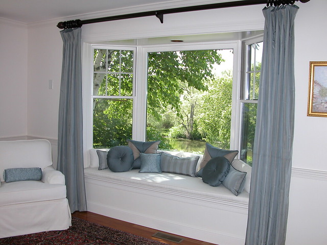 Bay window seat with pillows panels and chair slipcover flickr