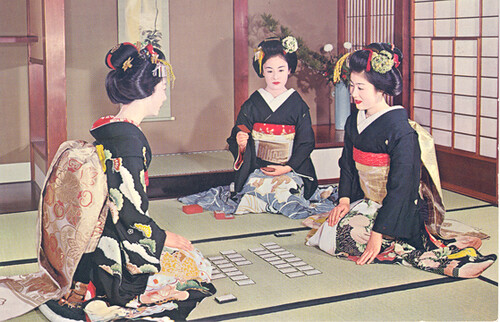 Maiko playing karuta, 1960s-1970s