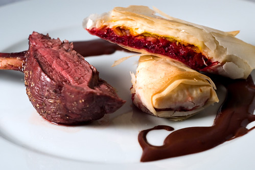 Rack of Venison with Beet Strudels and a Cocoa-Coffee Sauce