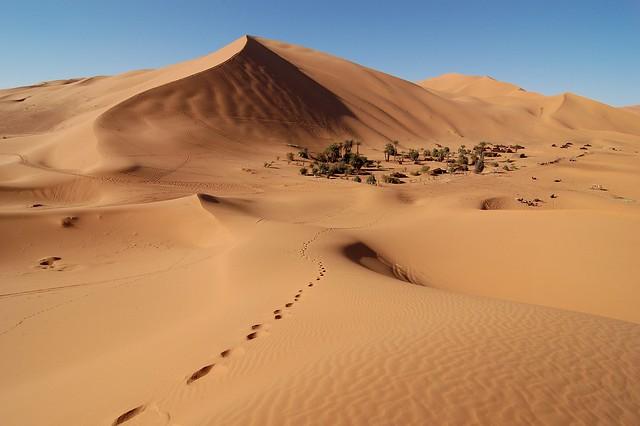Las dunas de Erg Chebbi. Desierto del Saharam Marruecos.