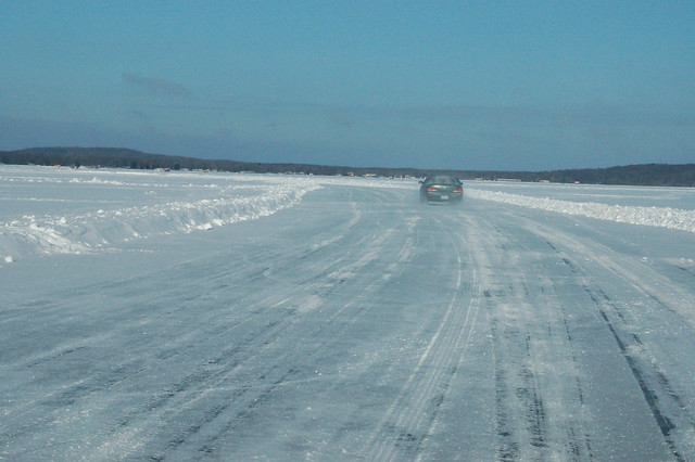 Driving across frozen lake mille lacs ice fishing on for Mille lacs ice fishing