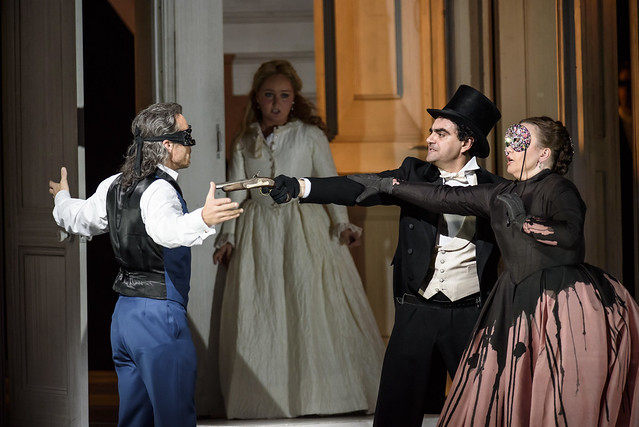 Christopher Maltman as Don Giovanni, Julia Lezhneva as Zerlina, Rolando Villazón as Don Ottavio, Albina Shagimuratova as Donna Anna  in Kasper Holten's Don Giovanni © ROH. Photograph by Bill Cooper, 2015