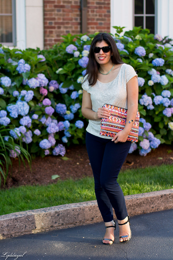 sequined top, navy pants, aztec clutch-5.jpg