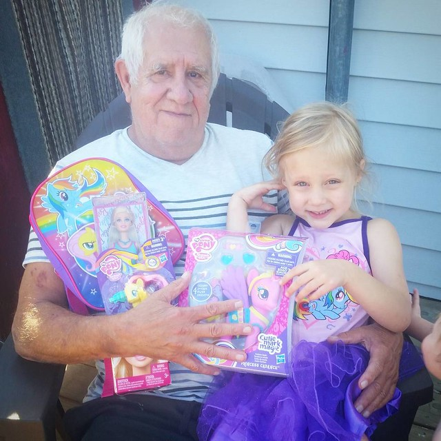 Lily's Papa took her on a birthday shopping date today. She was so excited to pick out some things she really wanted and spend time alone with Papa! She's now the proud owner of a My Little Pony dress, My Little Pony backpack, 2 My Little Pony toys, and a