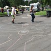 Chalk outlines to walk for peace.