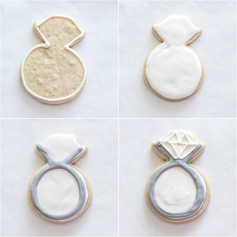 Diamond Ring Royal Icing Engagement Cookies - recipe & step by step tutorial