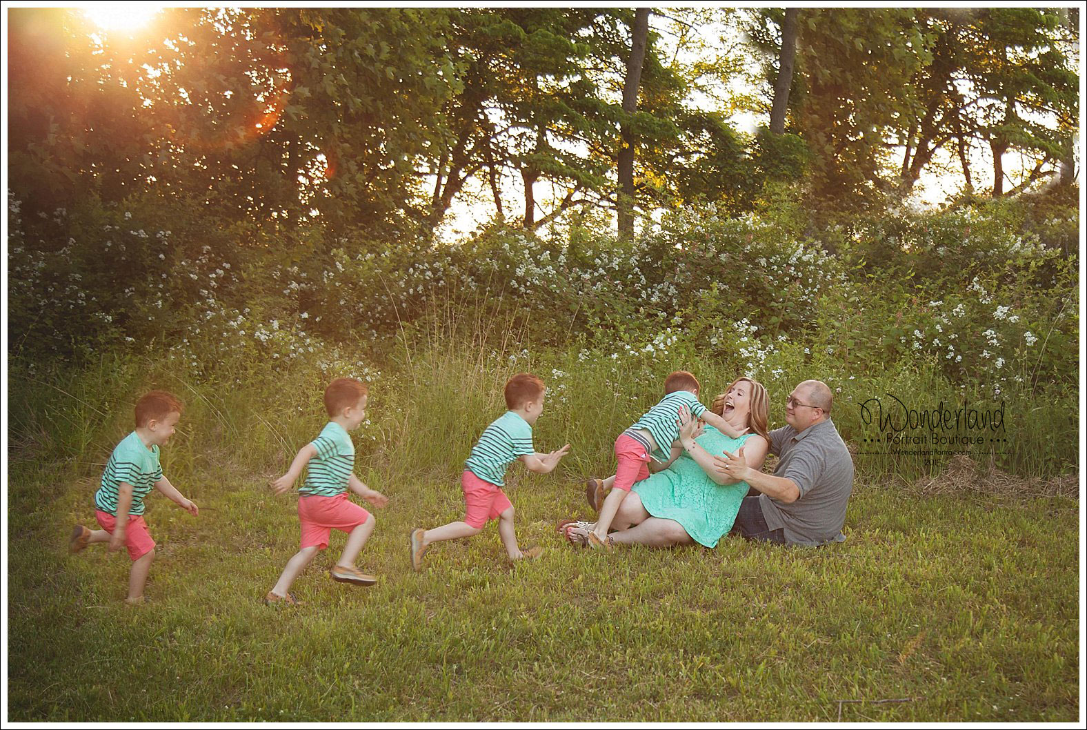 Bucks County PA Family Photo Pose Ideas Flow Posing Family in the woods | WonderlandPortrait.com