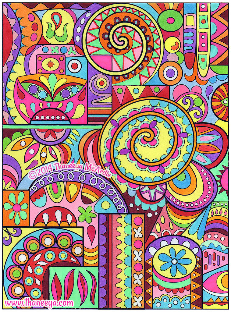 Colorful Abstract Coloring Page Art By Thaneeya McArdle
