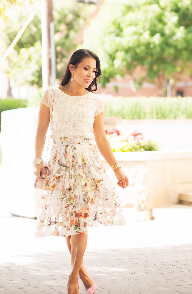 cute & little blog | crochet lace top, floral lattice sheer skirt, pink pumps, minkoff pink love crossbody | spring summer outfit