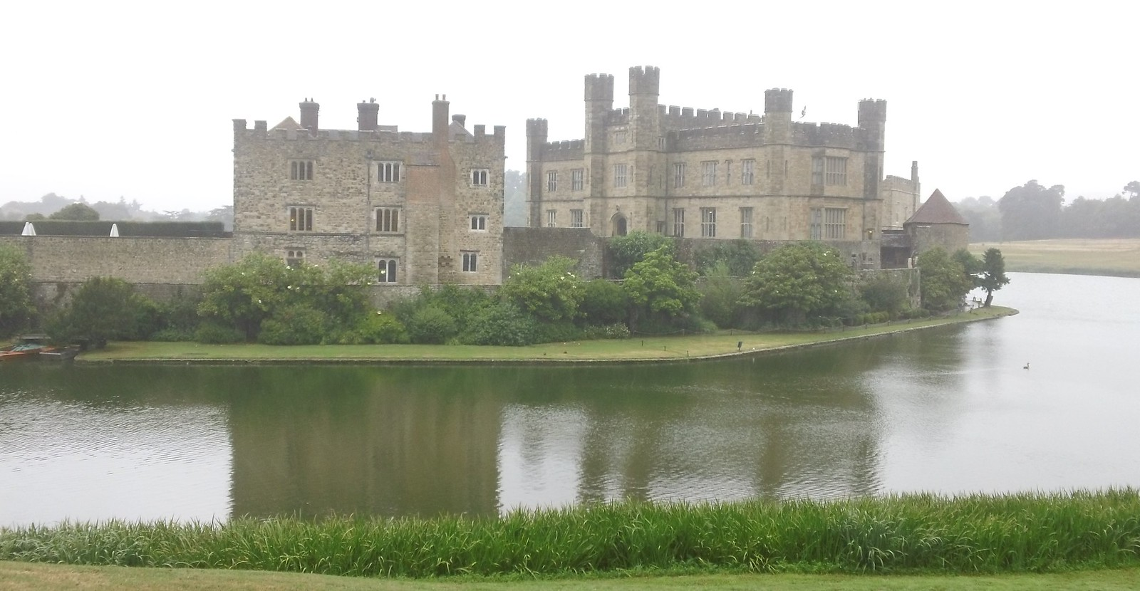 Leeds Castle on a misty, wet day