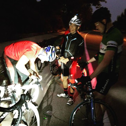 How many cyclists does it take to change an innertube?