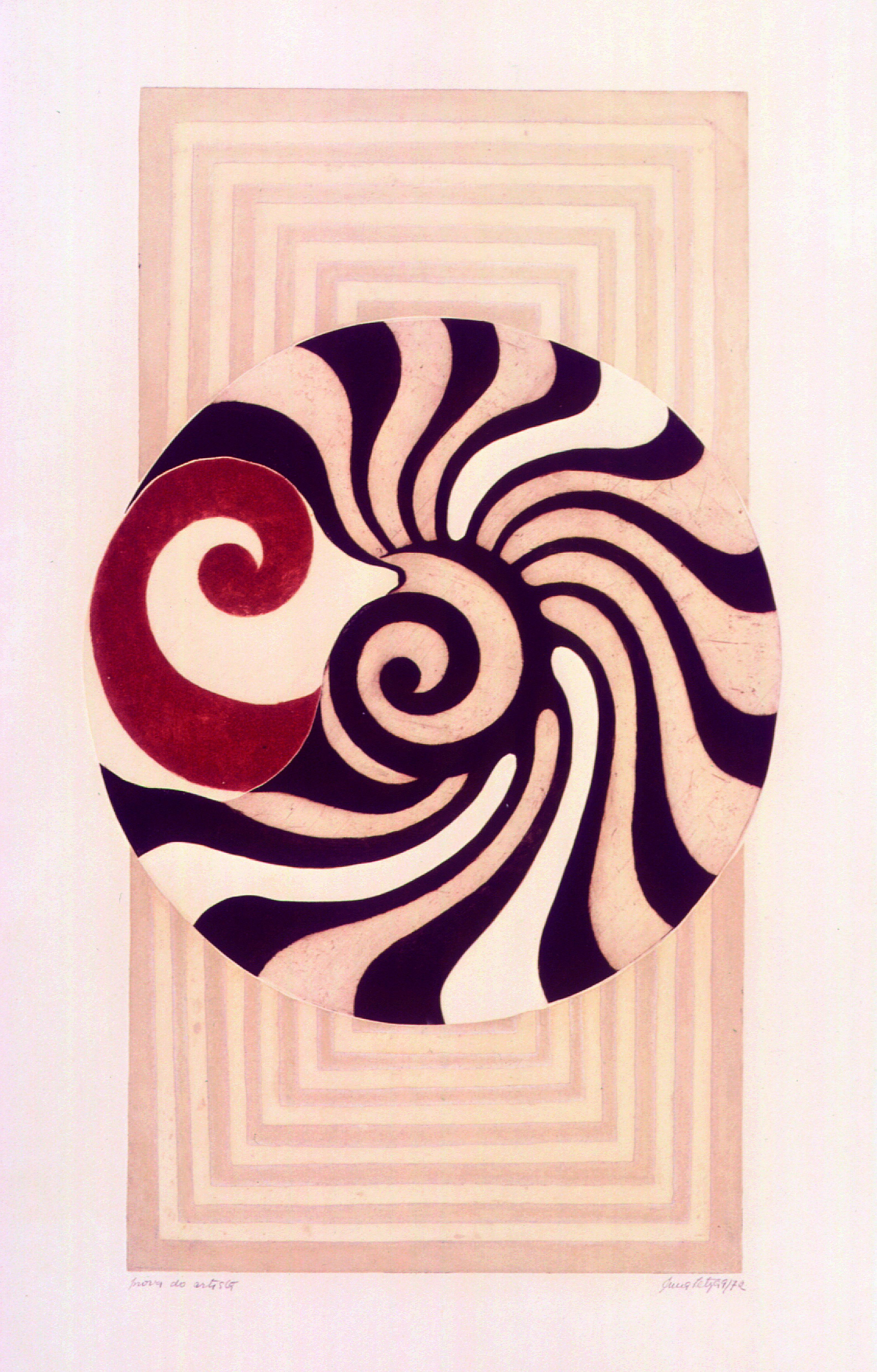Abstrato Geométrico  Autor: Anna Letycia Quadros  Ano: 1972  Técnica: Calcografia Água-forte e Água-tinta (prova do artista)  Dimensões: 54cm x 32cm