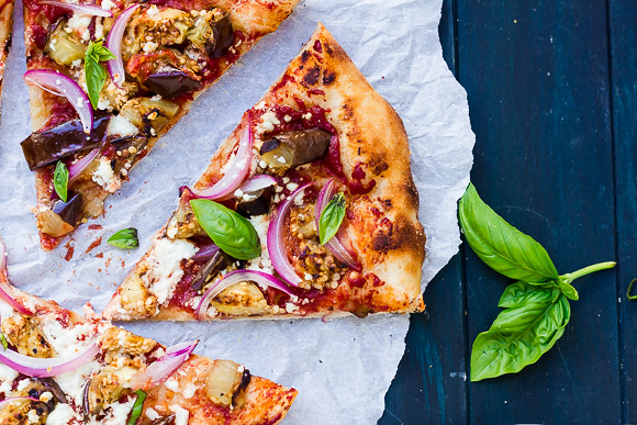 Grilled Eggplant, Red Onion, and Goat Cheese Pizza