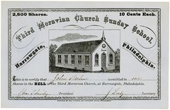 Bell Shares Certificate, Third Moravian Church Sunday School, Harrowgate, Philadelphia, Pa., ca. 1870s