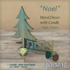 "[CIRCA] - ""Noel"" - Word Decor with Candle - Aqua Green"