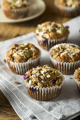 Healthy Organic Seed and Blueberry Muffins