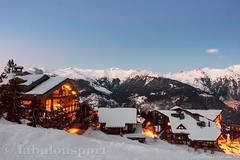 Evening mountain chalets view