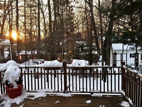 sunrise deck snow sun apple6splus apple fence photoaday pad