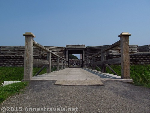 About to cross the drawbridge into the fort, Fort Stanwix National Monument, New York