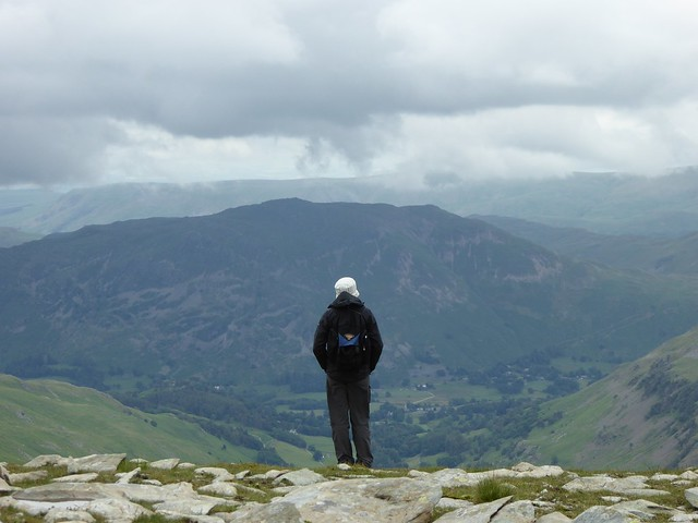 Admiring the view at Nethermost Pike