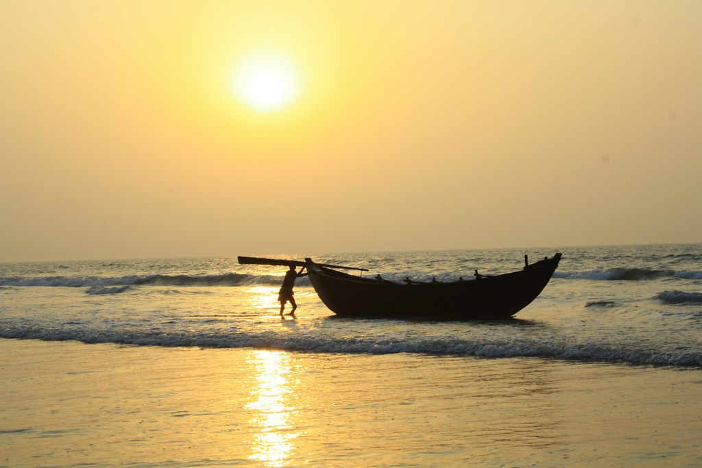 Fishing Boat in Sunrise at Digha Sea Beach - West Bengal, India
