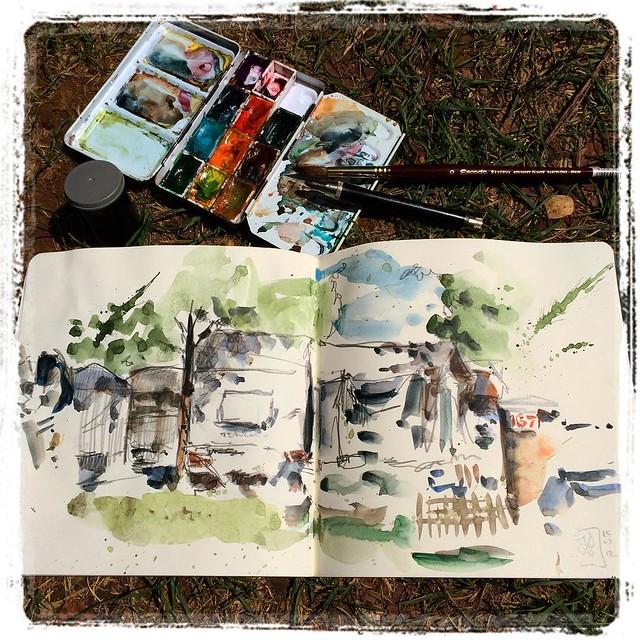 #iratxe #camping #urbansketch #pencil #watercolor