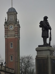War Memorial - King Edward Square, Sutton Coldfield - Clock tower of Sutton Coldfield Town Hall