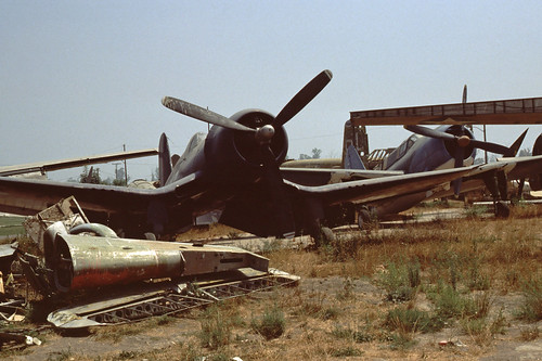 Change Vought F4U Corsair and Curtiss SB2C Helldiver at the Planes of Fame Museum, 1980